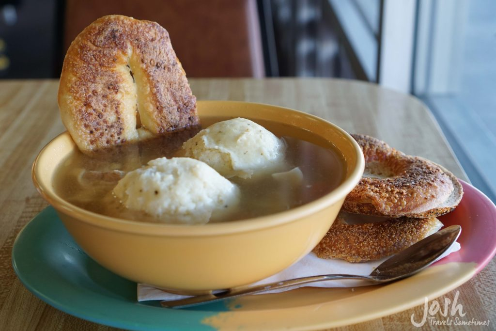 Warm matzo ball soup with bagel chips at Bagelmania deli in Las Vegas.