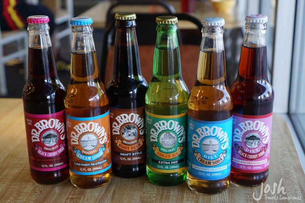 A variety of Dr. Brown's sodas at Bagelmania deli in Las Vegas.